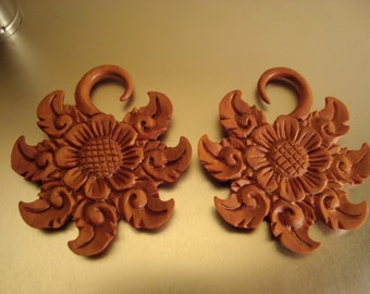 WHOLESALE LOT of 6 Pairs Flower Of Life Saba Wood Hangers (8G - 00G)