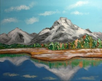 "Grand Tetons Original 16"" X 20"" Acrylic Painting on stretched canvas."