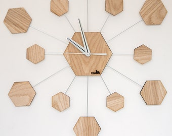 Hexagon clock from oak peel
