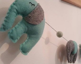 Mint and Grey Elephant Garland. Nursery Garland