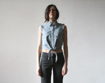 Vintage Lee Cooper sleeveless front tie blouse