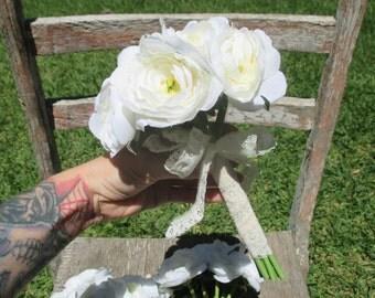 white ranunculus hand tied wedding bouquet, vintage lace, bride's maid, bridesmaid, white floral, ivory, white bouquet, ivory bouquet
