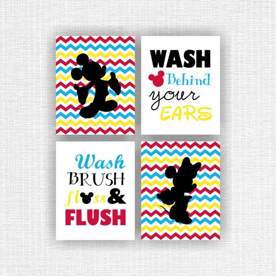 Mickey Mouse and Minnie Mouse wall art Wash Brush Floss