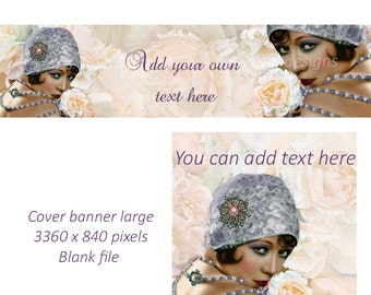 Etsy Cover banner and shop icon, Flapper Girl, instant download, blank, lav,  peach, jewelry, pearls, brooch pinup flapper hat vintage theme