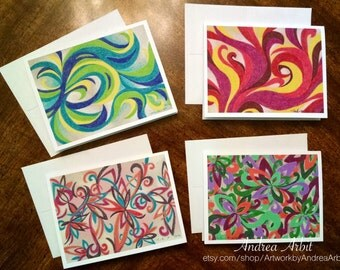 Abstract Set 1 - Pack of Four Blank A2 Notecards - Colored Pencil Art Prints