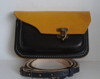 Hand stitched Leather Shoulder bag in  Black and Yellow with Antique brass clasp