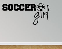 Wall Decal Quote Soccer Girl Sports Girl Power Vinyl Sticker For Home Decor Or Girls Bedroom (R5)