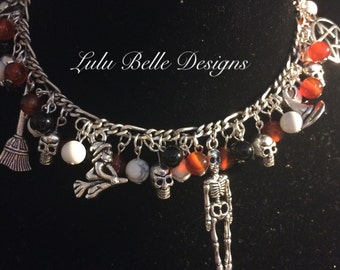 Samhain Charm Bracelet with Carnelian, White Howlite and Onyx and Pentacle, Witch's Hat, Skeleton, Witch, Broom, Spider & Skull Charms
