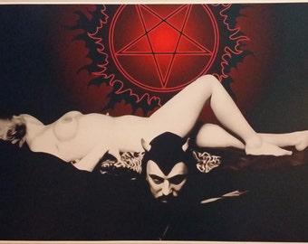 "Church of Satan Anton LaVey GIANT WIDE 40"" x 24"" Poster Art Baphomet Evil 666"