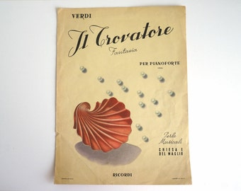 Verdi IL TROVATORE Opera music sheet 1940s, Verdi music for piano, piccola fantasia for piano, from Italy