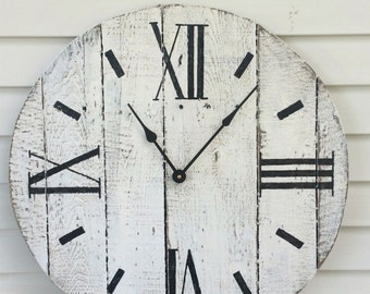 Farmhouse Style Wooden Pallet Clock--white washed Roman Numeral-- 20,24.30, or 36 inch!