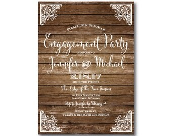 Rustic Engagement Party Invitation - Country Chic - Barn Wedding - Fall Wedding - Rustic Wedding - Printed Engagement Party Invitations
