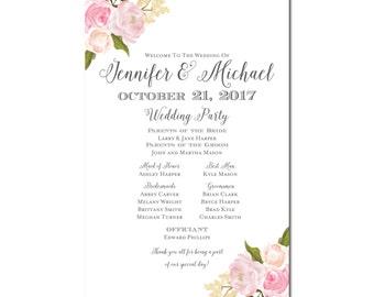 Wedding Program Sign - Rustic Wedding - Floral Wedding - Printable Program Sign - Wedding Welcome Sign - Welcome Program Sign #CL110
