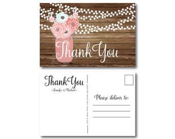 Rustic Thank You Postcard, Wedding Thank You Postcard, Thank You Card, Rustic Wedding, Mason Jar Thank You Postcard, Rustic Thank You #CL221