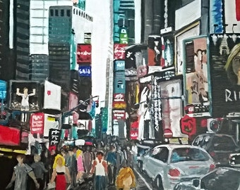 "Framed 10X10"" Giclee Print of Times Square from an Original painting by Sazi Harrop"