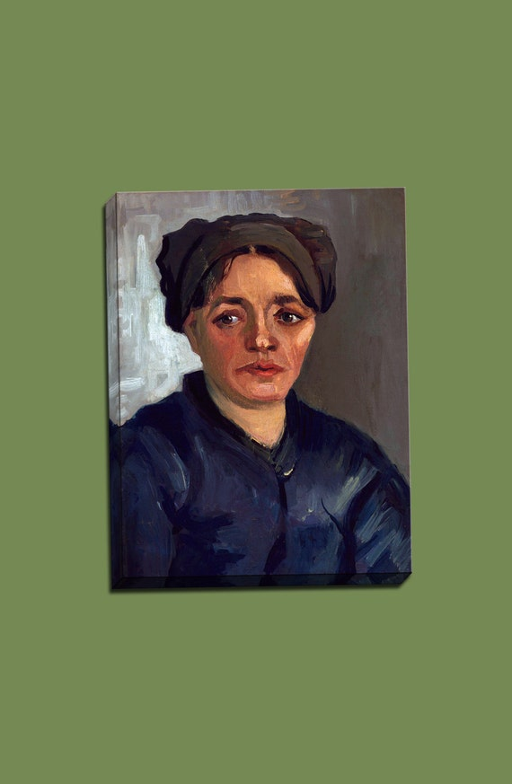 Head of a Peasant Woman with Dark Cap  Mirror Wrapped Canvas