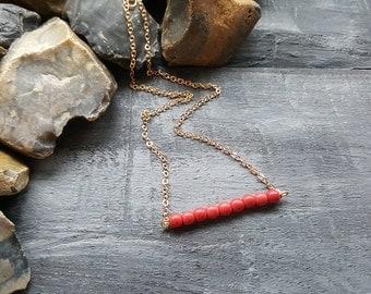 Gemstone necklace. Beaded necklace. Bar necklace. Red necklace. Beaded bar necklace. Gold chain necklace. Minimalist necklace. Boho necklace
