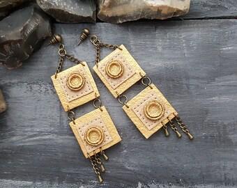 Leather earrings. Long dangle earrings. Bohemian earrings. Boho earrings. Geometric earrings. Gold leather earrings. Tribal earrings.