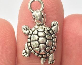 8 Tortoise Turtle Charms Antique Silver 13 x 24mm - SC5500