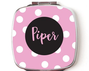 Personalized Compact Mirror, Pink and Black Polka Dots, Makeup Mirror, Personalized Mirror for Bridesmaids