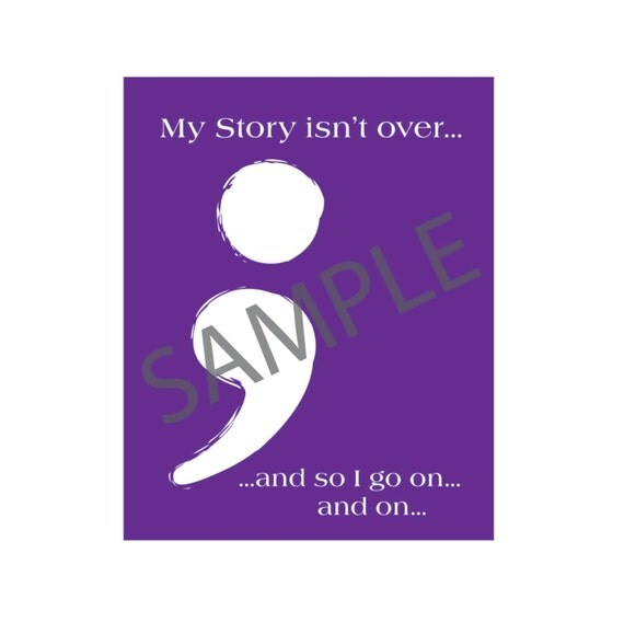 Purple 8 x 10 Semicolon Project Printable Picture Mental Health Awareness, Suicide Awareness, Addiction