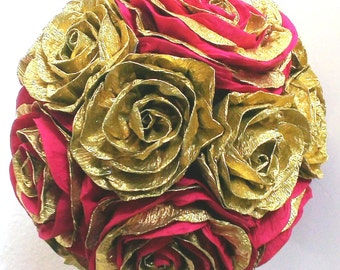 Gold royal red crepe paper flower ball rose hanging paper wedding pomander kissing ball flower girl bridal baby shower WEDDING CENTERPIECE