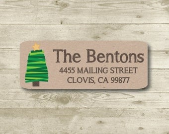 Christmas Tree, Return Address Label, Personalized, MATTE, Holiday, Mailing Label