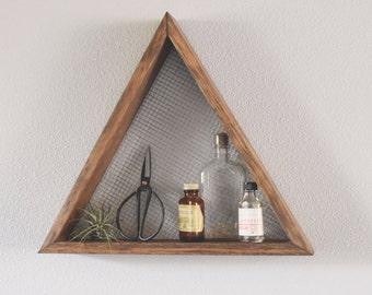 triangle shelf geometric wall art shelf geometric home decor wall hanging wall shelf reclaimed wood modern industrial rustic