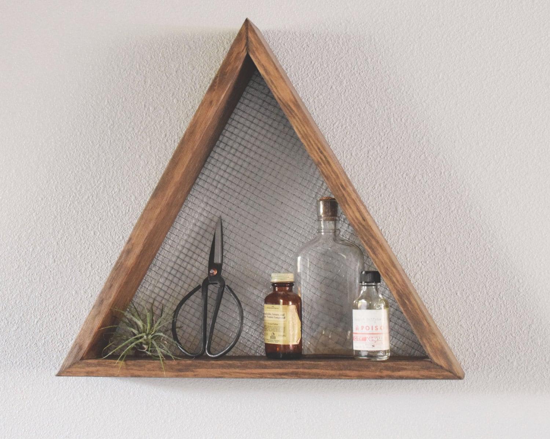 Triangle shelf geometric wall art shelf geometric home - Decoracion rustica moderna ...