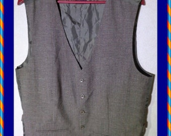 Brown Mens Vest Steampunk Formal Plaid Brown Graphic on the Back Waistcoat Large Size
