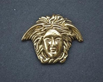 Small Art Nouveau angels head solid brass furniture mount ormolu H4