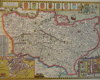An old copy of John Speed map of Kent, Canterbury, Rochester, town plan 1610