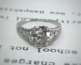 Art Deco Old European Cut Diamond Solitaire Engagement Ring In Platinum, 1.6 Carats