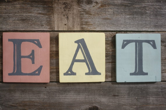 Eat Letters Sign Blocks Rustic Vintage Retro Look Gifts Under