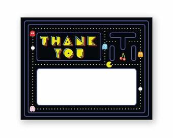 Retro Pac-Man Theme Flat Thank You Note (Printables)