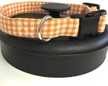 Orange gingham dog collar, orange dog collar, checkered collar, plaid collar, summer collar, Halloween collar, puppy collar, fabric covered