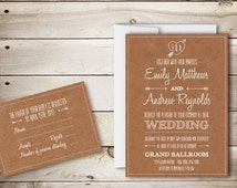 Printable Wedding Invitation & RSVP Templates - Brown Kraft Paper - Instant Download - Editable MS Word Doc - Cupid's Dart Collection