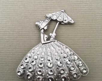1950's Staybrite Crinoline Lady Brooch