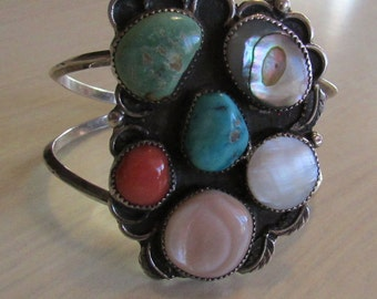 Sterling Silver Multi Stone Cuff Bracelet.  Navajo Style