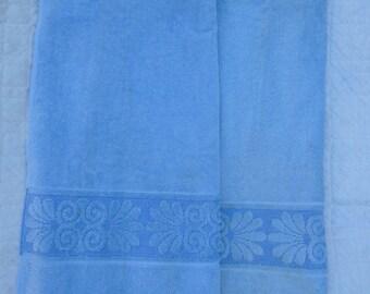 Vintage Blue Cannon Monticello Sculpted Textured Bath Towel Cottage Chic Shabby Velour Cotton