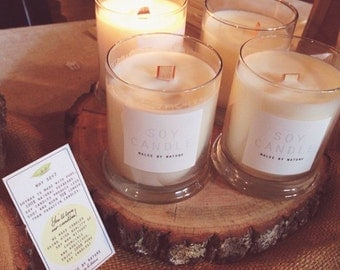 Hand poured Premium Soy Candle with wooden wick 10oz