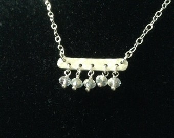 Sterling and crystal bar necklace
