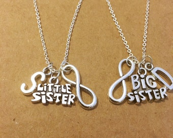 Big and little sister love link personalized charm necklaces