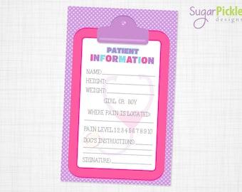 Doc McStuffins Paitent Information, Doc McStuffins Party, Doc McStuffins Birthday Printable 8.5x11 PDF