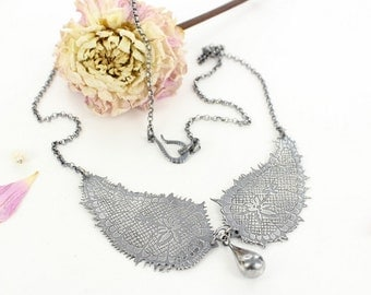 Lace necklace - Lady necklace - Sterling silver necklace - Victorian necklace - Handmade