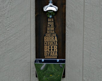 Wall Mounted Bottle Opener with Catcher for the Man Cave, Patio, Beer, Garage, Dad, Husband, Groomsman, Handmade by Liahona Laser on Etsy