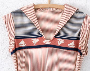vintage dress nautical polka dots size S sailor