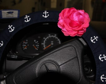 Anchor Steering Wheel Cover - Flower Wheel Cover -Navy Wheel cover - Women's Wheel cover.