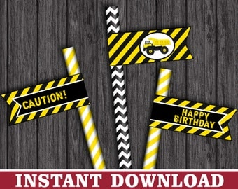 Construction Straw Flags - Dump Truck Party Straw Drink Tags - Printable Digital File - INSTANT DOWNLOAD