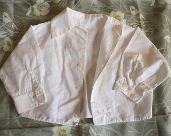 Cute Vintage Baby Button-Down Shirt - White, Long Sleeves, Cotton